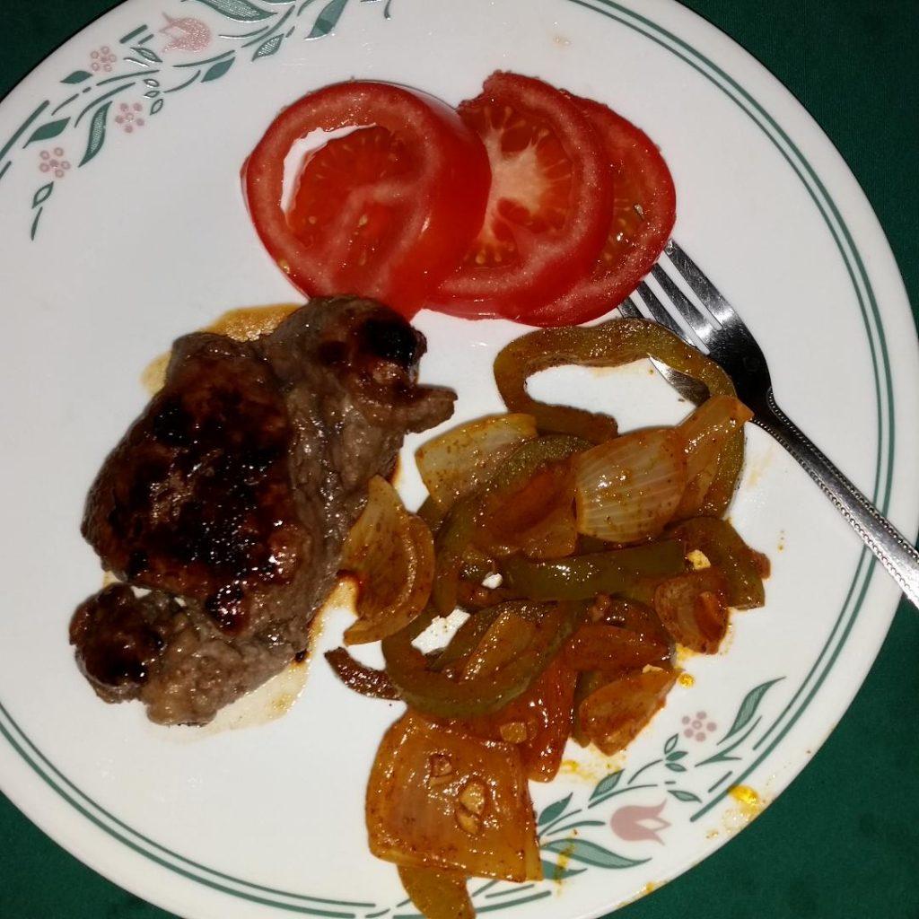 fajita vegetables with grilled steak