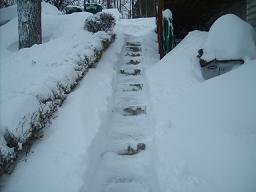 shoveling stairs